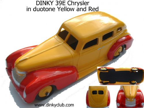 A DINKY TOYS COPY MODEL 39E CHRYSLER DUOTONE YELLOW AND RED